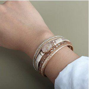 BOHO Stacked Leather & Druzy Quartz Wrap Cuff Bracelet